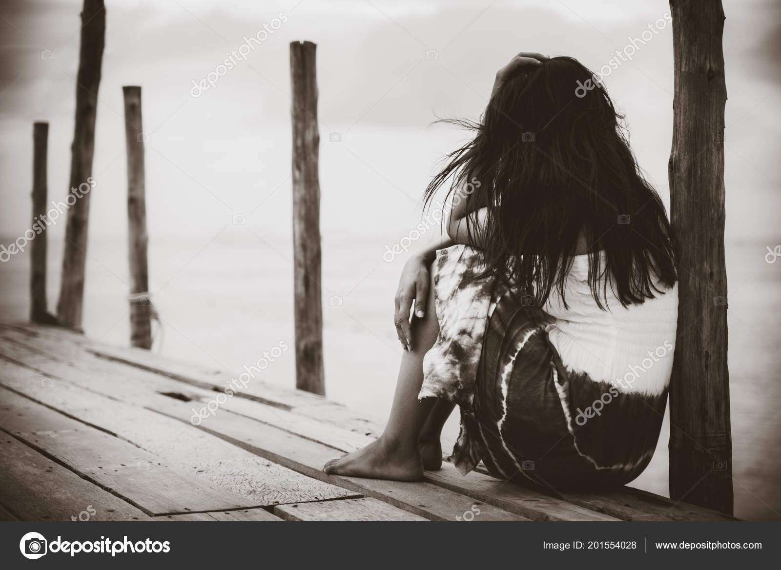 Women and Sad black white photography