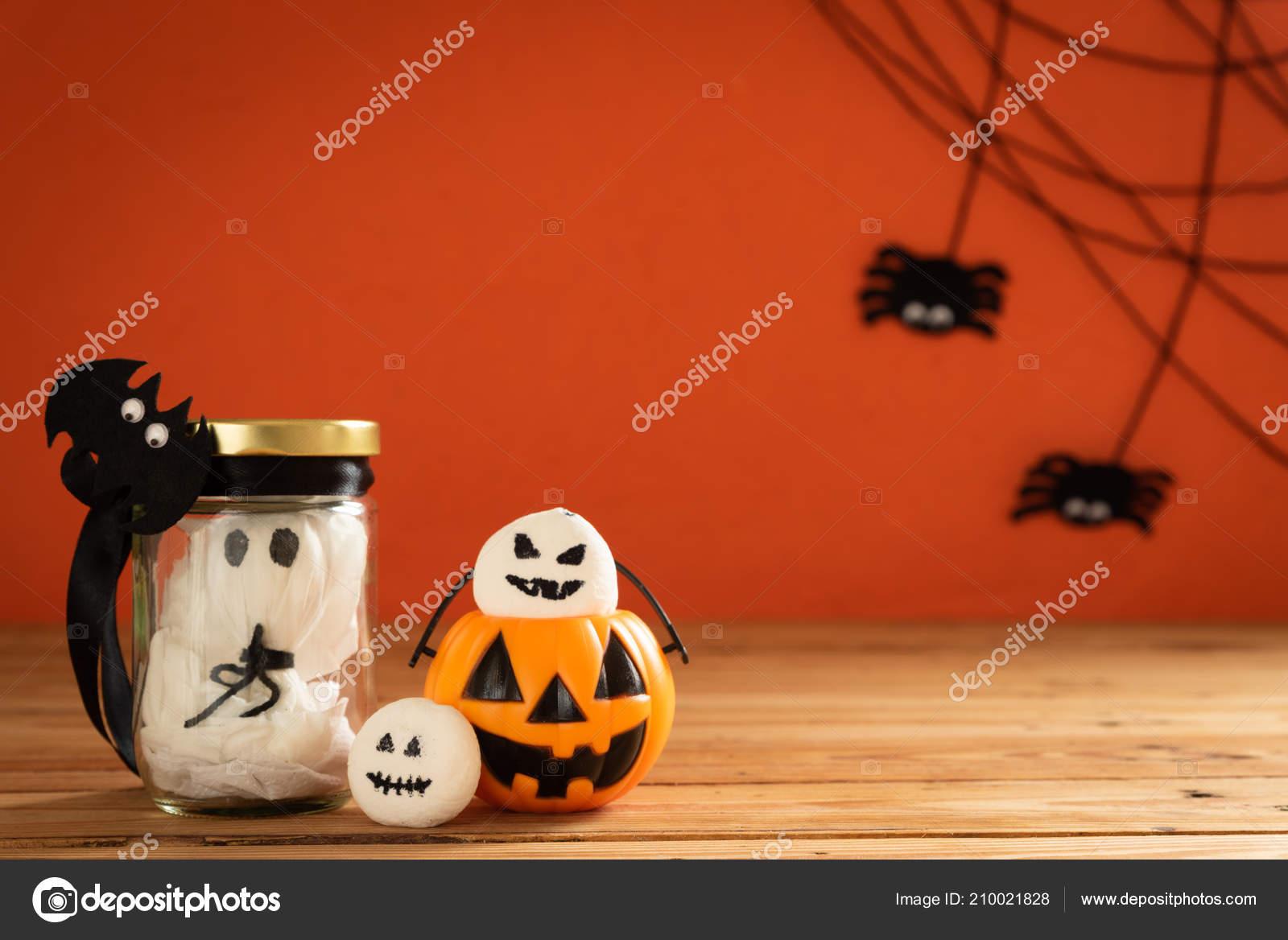 Halloween Basteln Orange Kürbis Gespenst Und Spider Auf