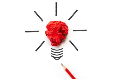 Inspiration and great idea concept. light bulb with crumpled colorful paper and red pencil on white background.