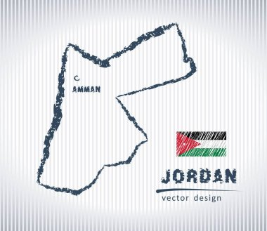 Jordan national vector drawing map on white background