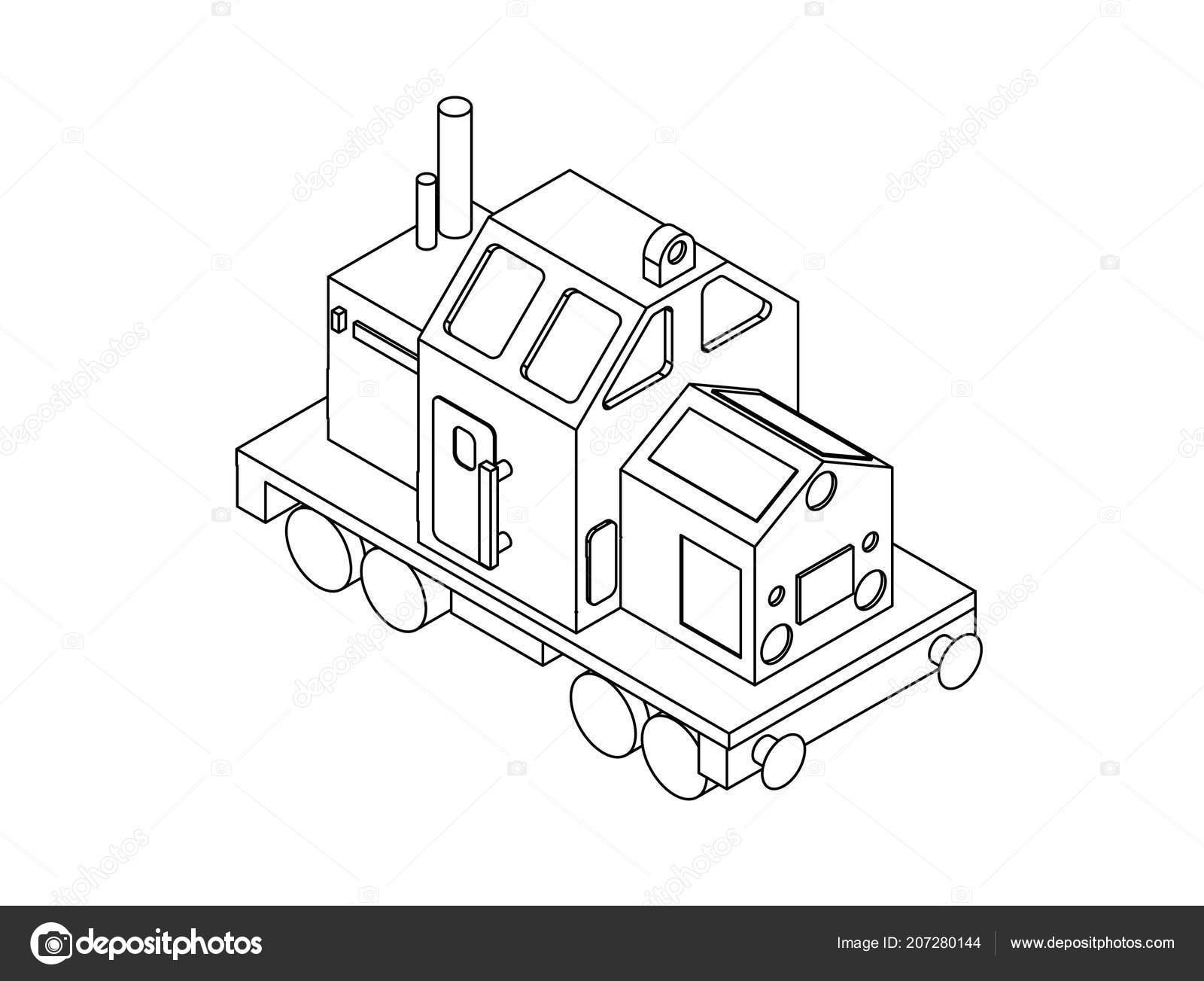 Lok Zug Isometrie Ist Perfekt Zum Ausmalen Stockvektor Lev22x