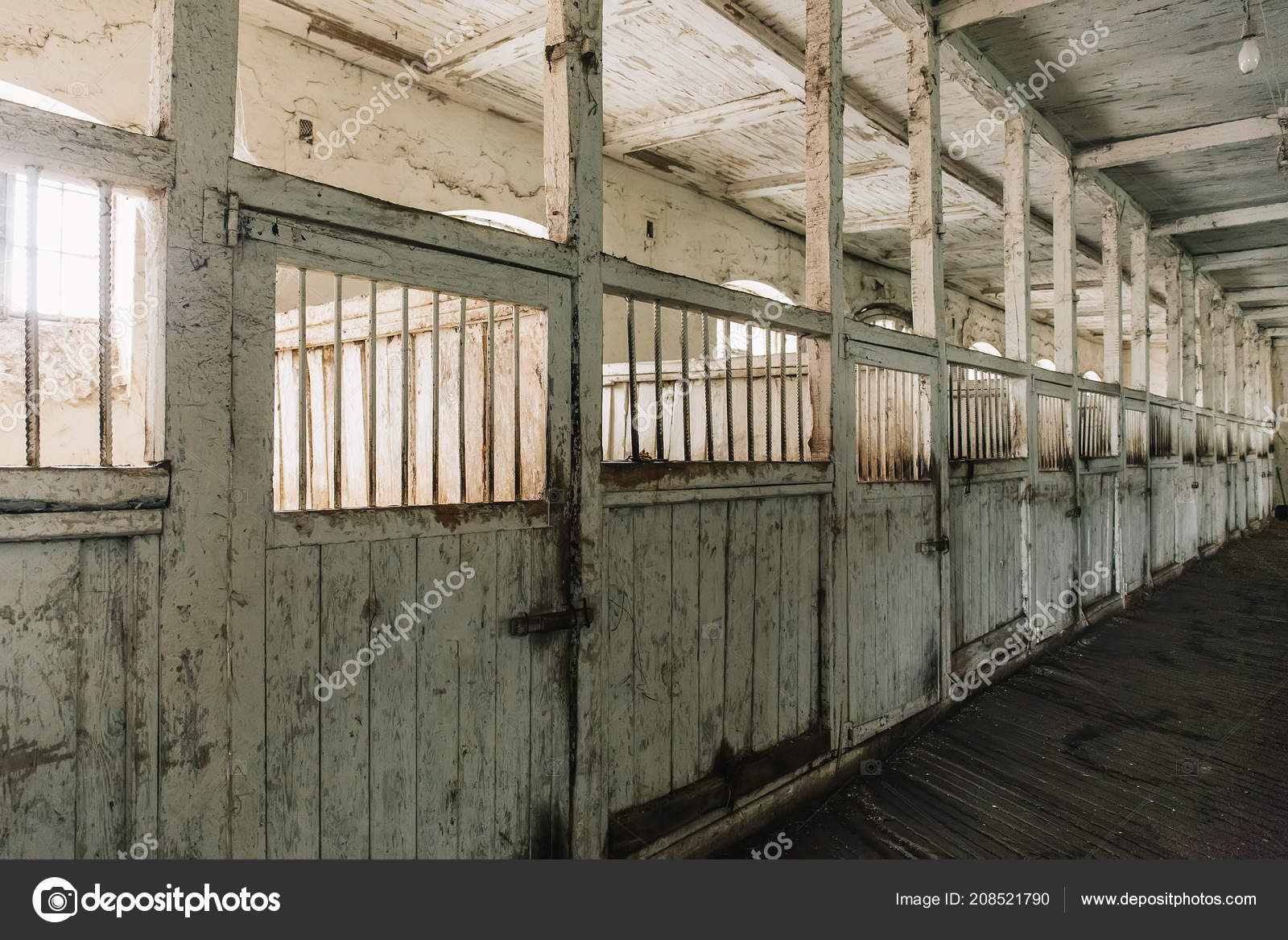 Horse Barn Or Stable On Farm Or Ranch Old Wooden Horse Boxes