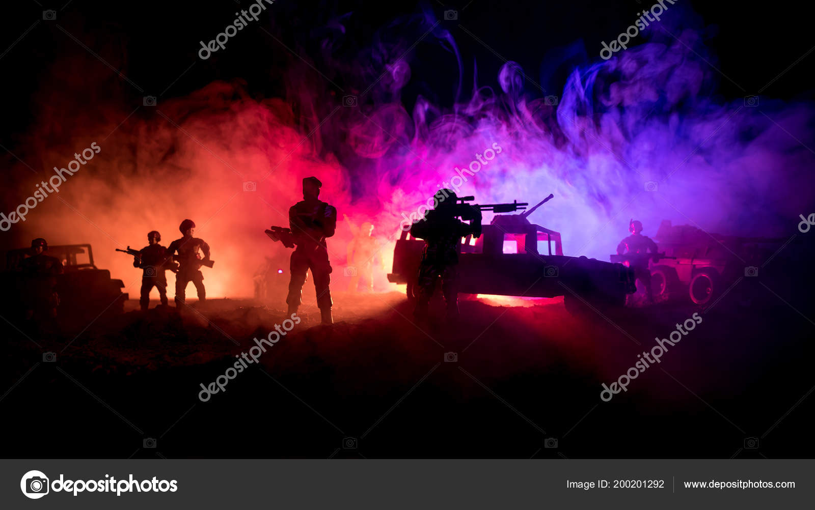 War Concept Military Silhouettes Fighting Scene War Fog Sky