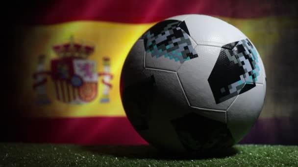 BAKU,AZERBAIJAN - JUNE 21, 2018 : Creative concept. Official Russia 2018 World Cup football ball The Adidas Telstar 18 on dark toned foggy background  Selective focus