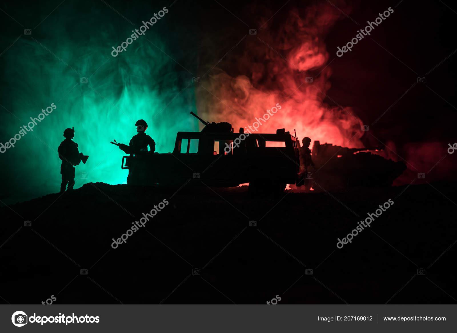 War Concept Military Silhouettes Fighting Scene War Fog Sky