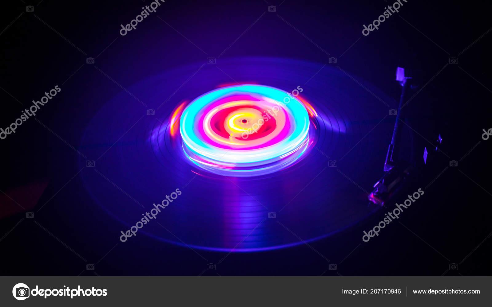 Music Concept Freezelight Glowing Vinyl Dark Background