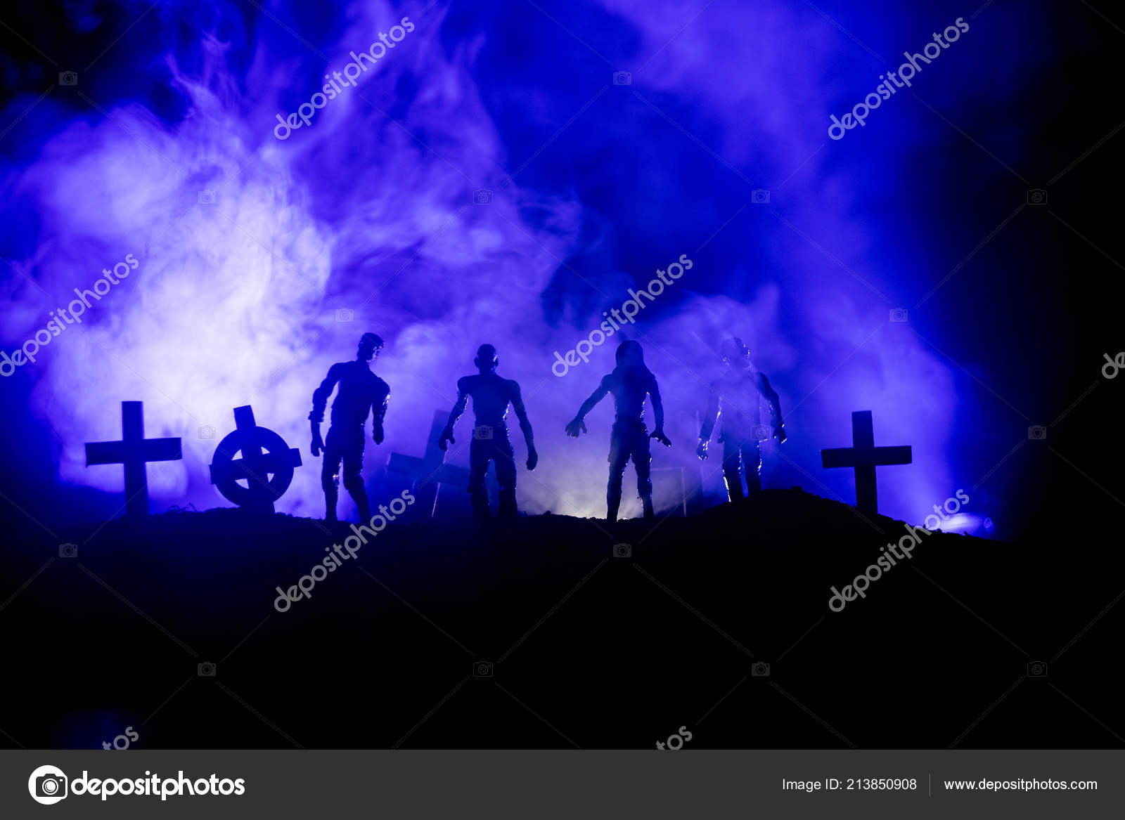 Scary View Zombies Cemetery Dead Tree Moon Church Spooky Cloudy