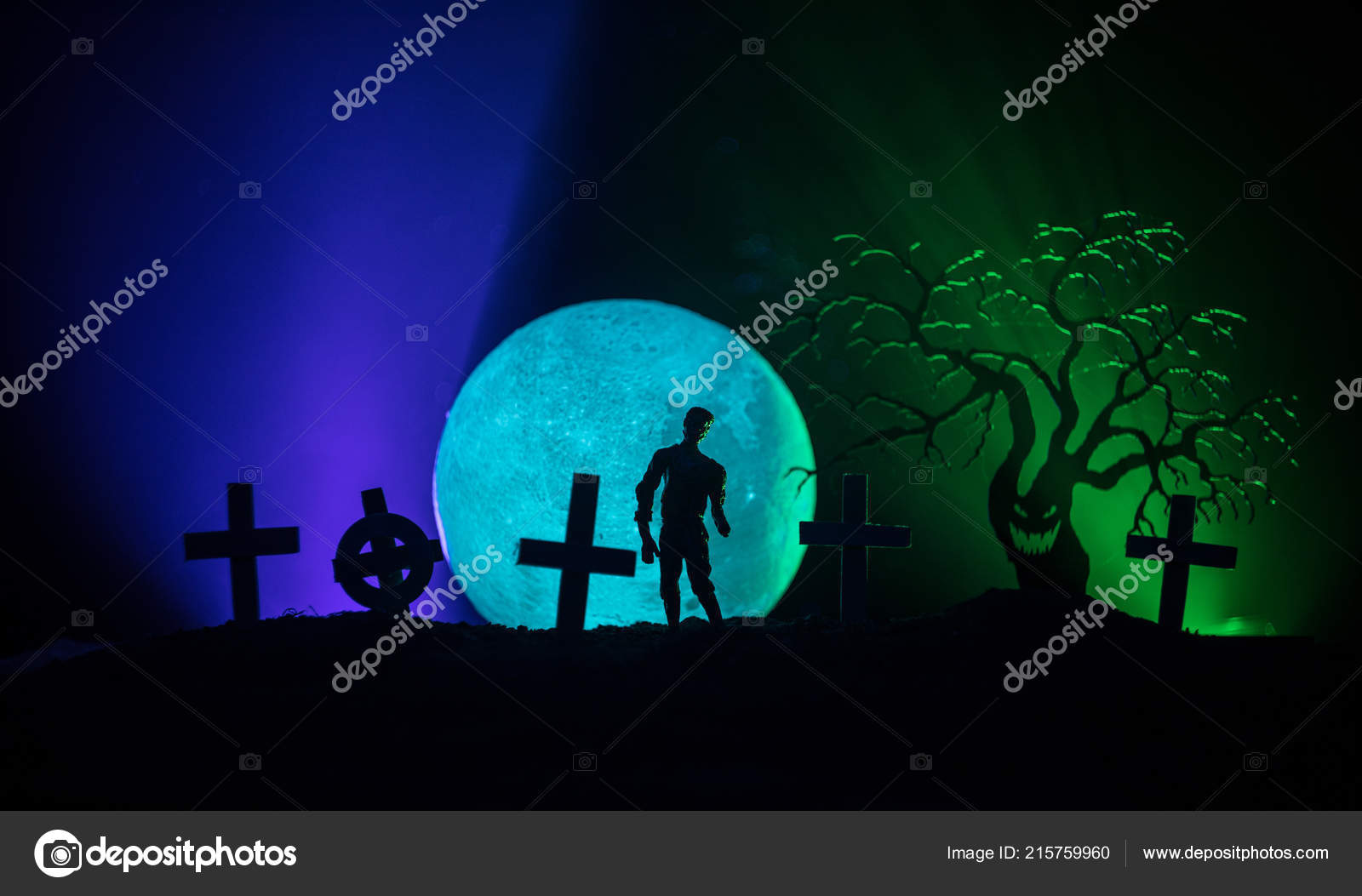 Scary View Zombies Cemetery Dead Tree Moon Church Spooky