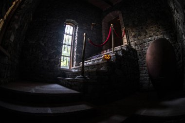 Inside of old creepy abandoned mansion. Staircase and colonnade. Halloween pumpkin on dark castle stairs to the basement. Spooky dungeon stone stairs in old castle
