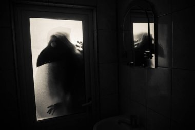 Horror silhouette of woman in window. Scary halloween concept Blurred silhouette of witch in bathroom