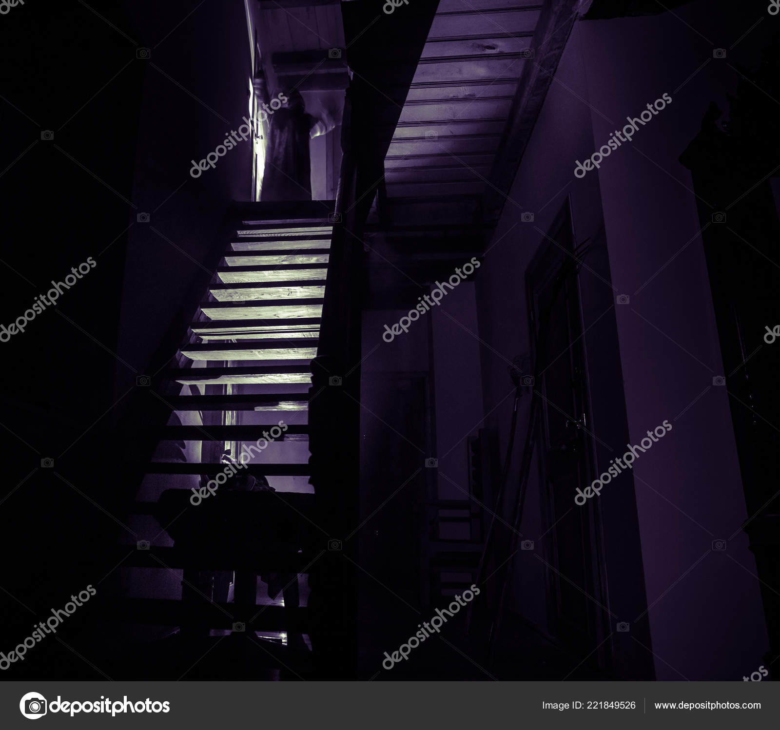 Old Creepy Abandoned Mansion Silhouette Horror Ghost Standing Castle Stairs Stock Photo C Zeferli Gmail Com 221849526