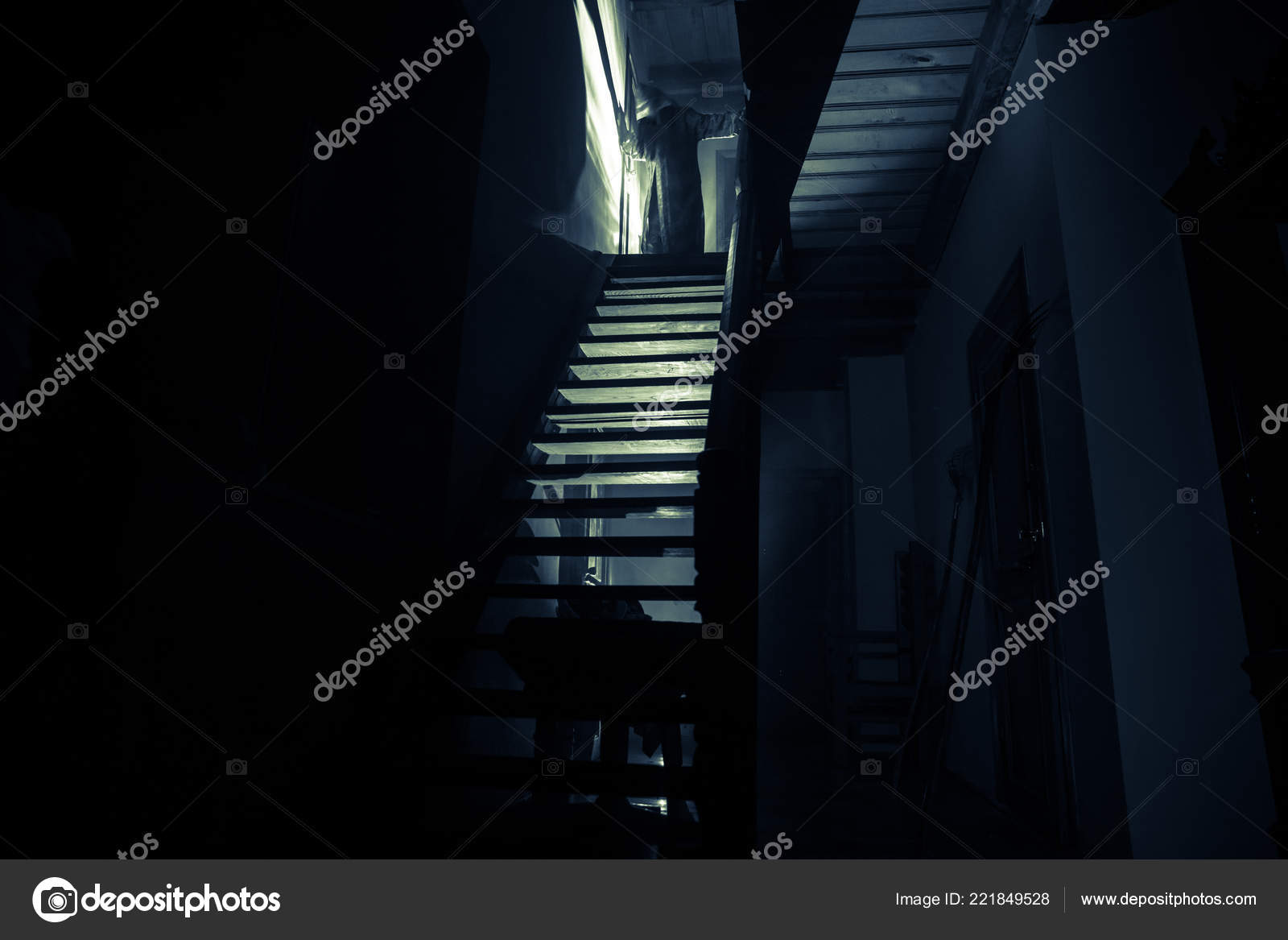 Old Creepy Abandoned Mansion Silhouette Horror Ghost Standing Castle Stairs Stock Photo C Zeferli Gmail Com 221849528