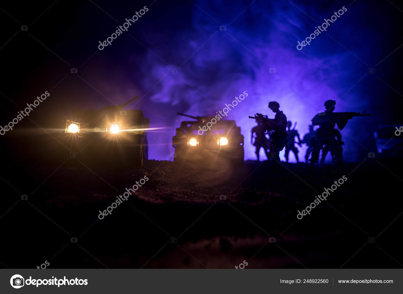 War Concept Battle Scene War Fog Sky Background Fighting Silhouettes