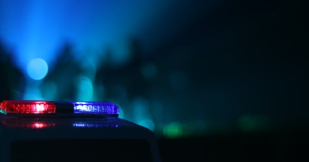 Policisté s policejních aut v noci s pozadím mlha.