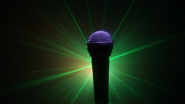 Photo Microphone for sound, music, karaoke in audio studio or stage. Mic technology. Voice, concert entertainment background. Speech broadcast equipment. Live pop, rock musical performance