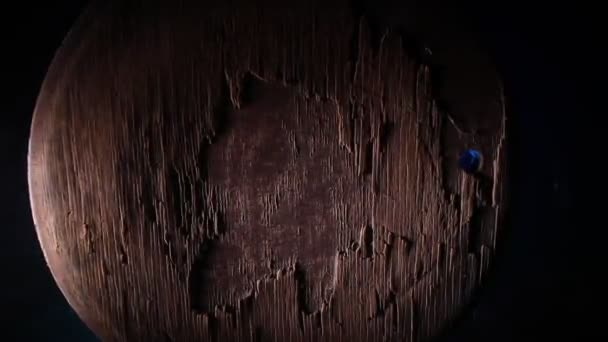 Dark vintage wood texture. Close up view of old grunge dark wooden surface. Selective focus