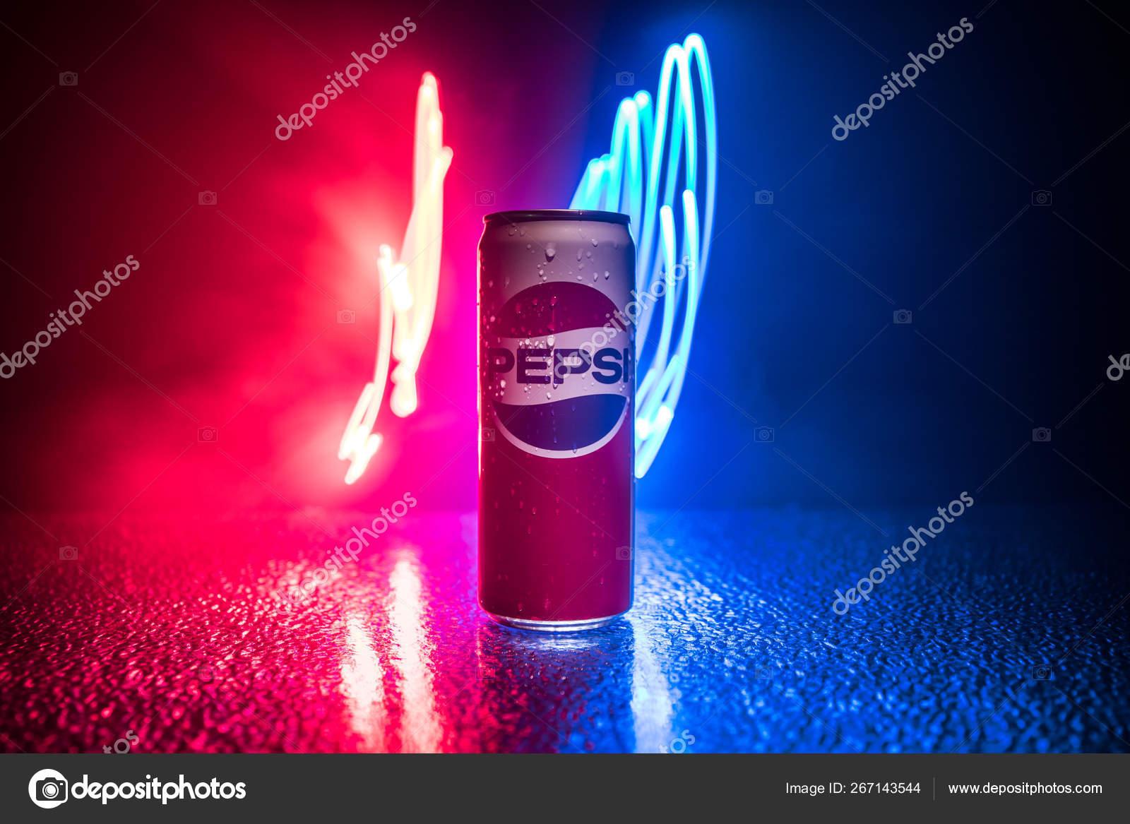 Baku Azerbaijan April 2019 Pepsi Can Dark Toned Foggy Background