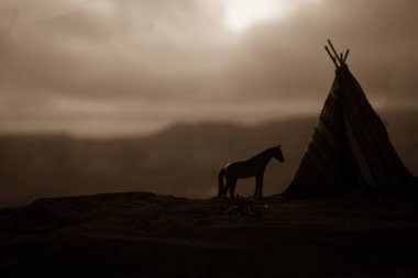 An old native american teepee in the desert