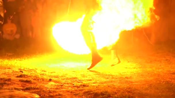 Berdsk, Russia - June 03,2018: fire show on the street