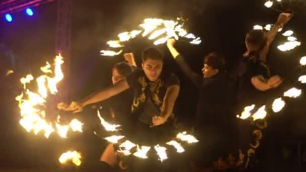 Novokuzneck, Russia, 21.10.2018: fire show on the street
