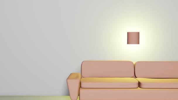 3D místnost interiér s béžovou pohovku a svítilnou