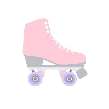 Vector flat cartoon pastel pink roller skate on white background