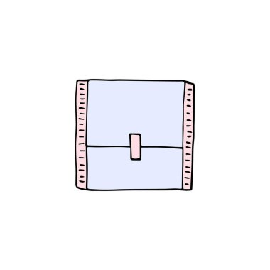 Vector colored hand drawn doodle sketch menstrual pad pack isolated on white background icon