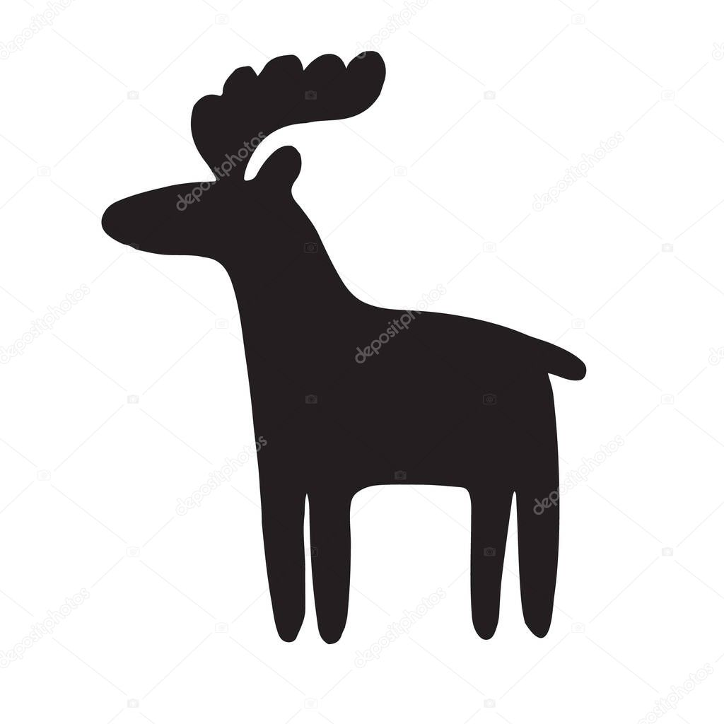 Vector hand drawn black doodle deer moose silhouette isolated on white background icon