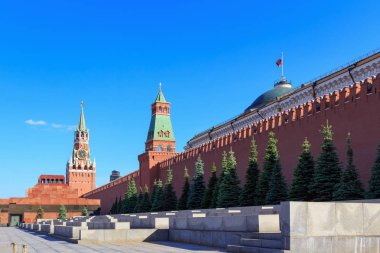 Tribunes along the wall of Moscow Kremlin on Red square