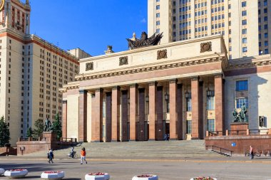 Moscow, Russia - June 02, 2018: Square near entrance to the main building of Lomonosov Moscow State University (MSU) at sunny summer evening