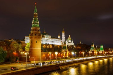 View of Moscow Kremlin with illumination at night