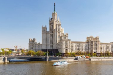 Moscow, Russia - May 01, 2019: View of high-rise on Kotelnicheskaya embankment in Moscow at sunny spring morning
