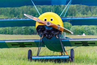 Balashikha, Moscow region, Russia - May 25, 2019: Restored aircraft of first world war on a green grass of airfield at aviation festival Sky Theory and Practice 2019
