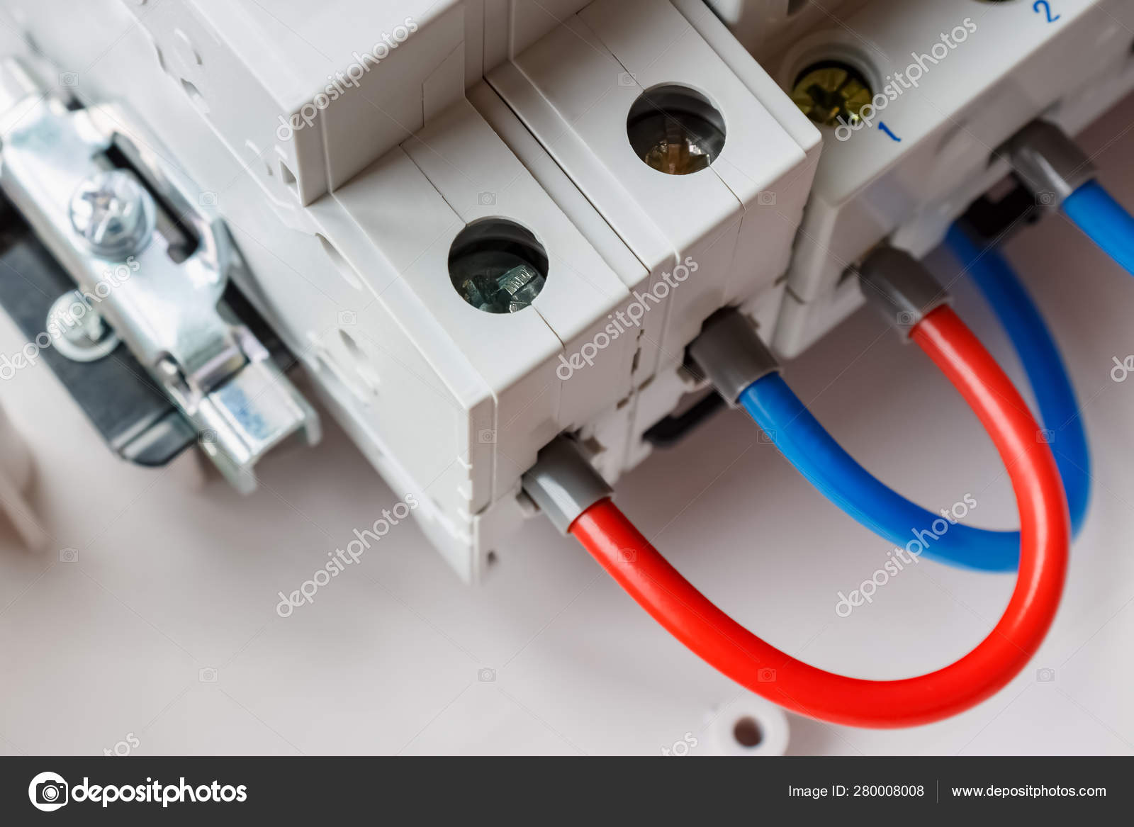 Connected ports of automatic circuit breakers by red and ... on