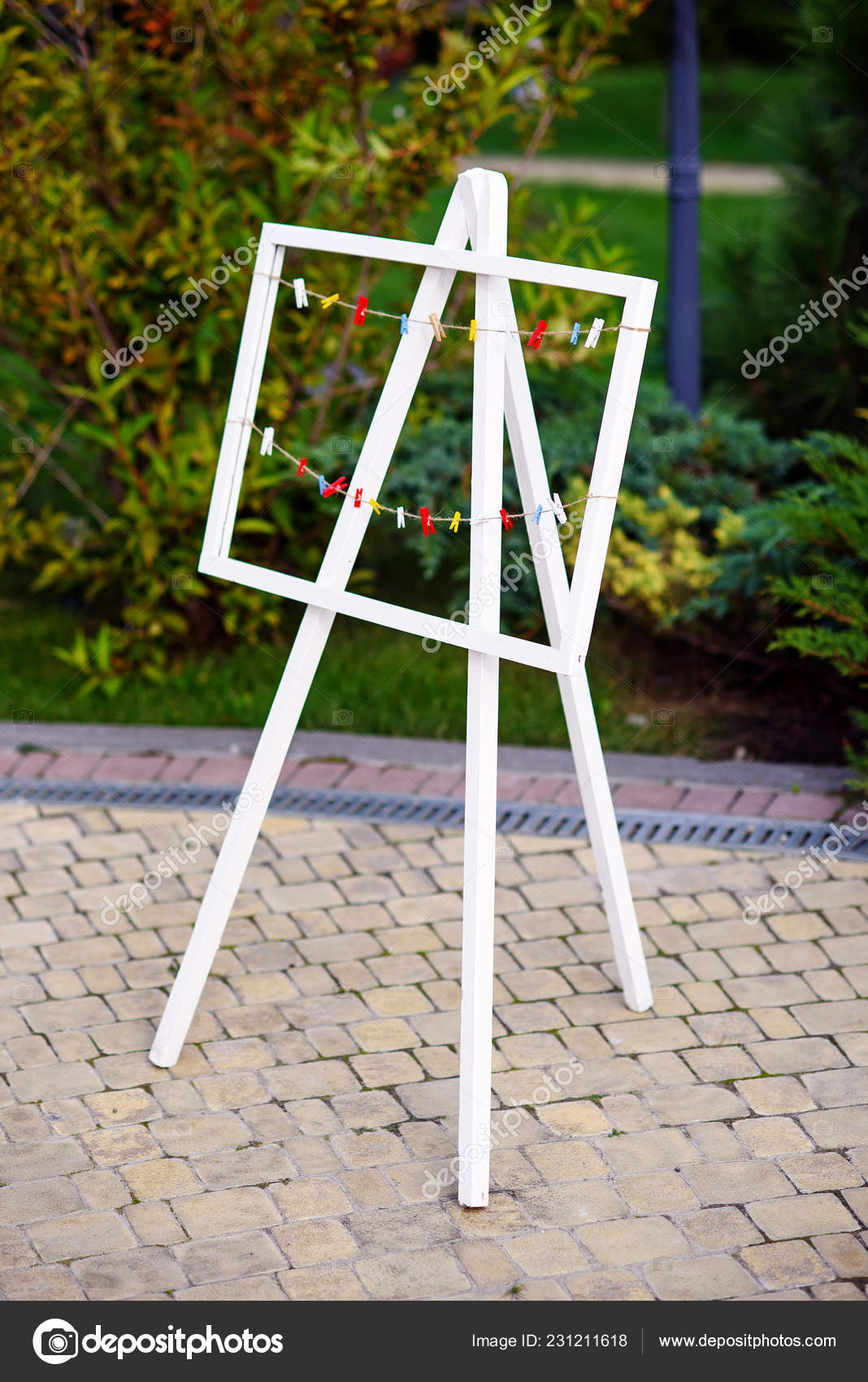 Decorative Easels For Weddings.White Wooden Decorative Easel Ropes Cuffs Wedding Party