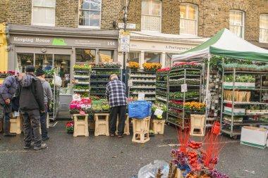 London / UK - 12 November 2017: people at Columbia Sunday flower market