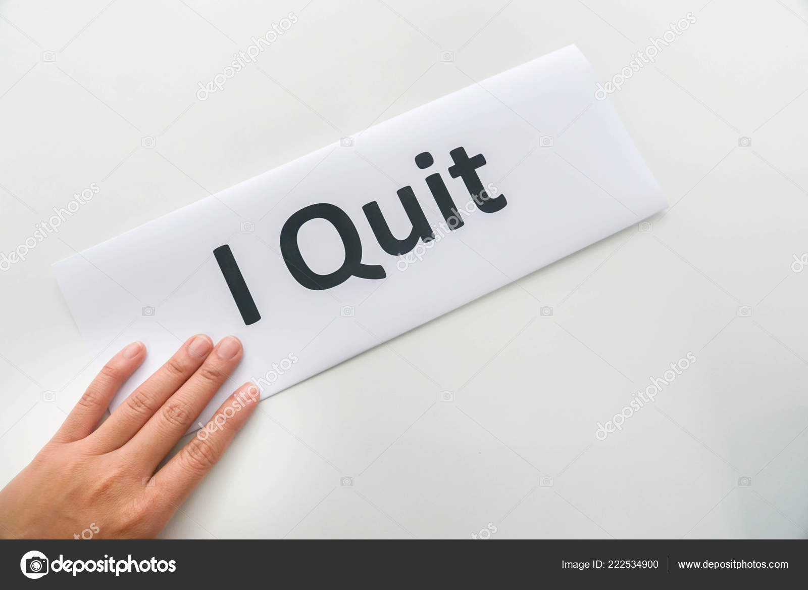 isolated woman submit resignation letter quit office stock photo