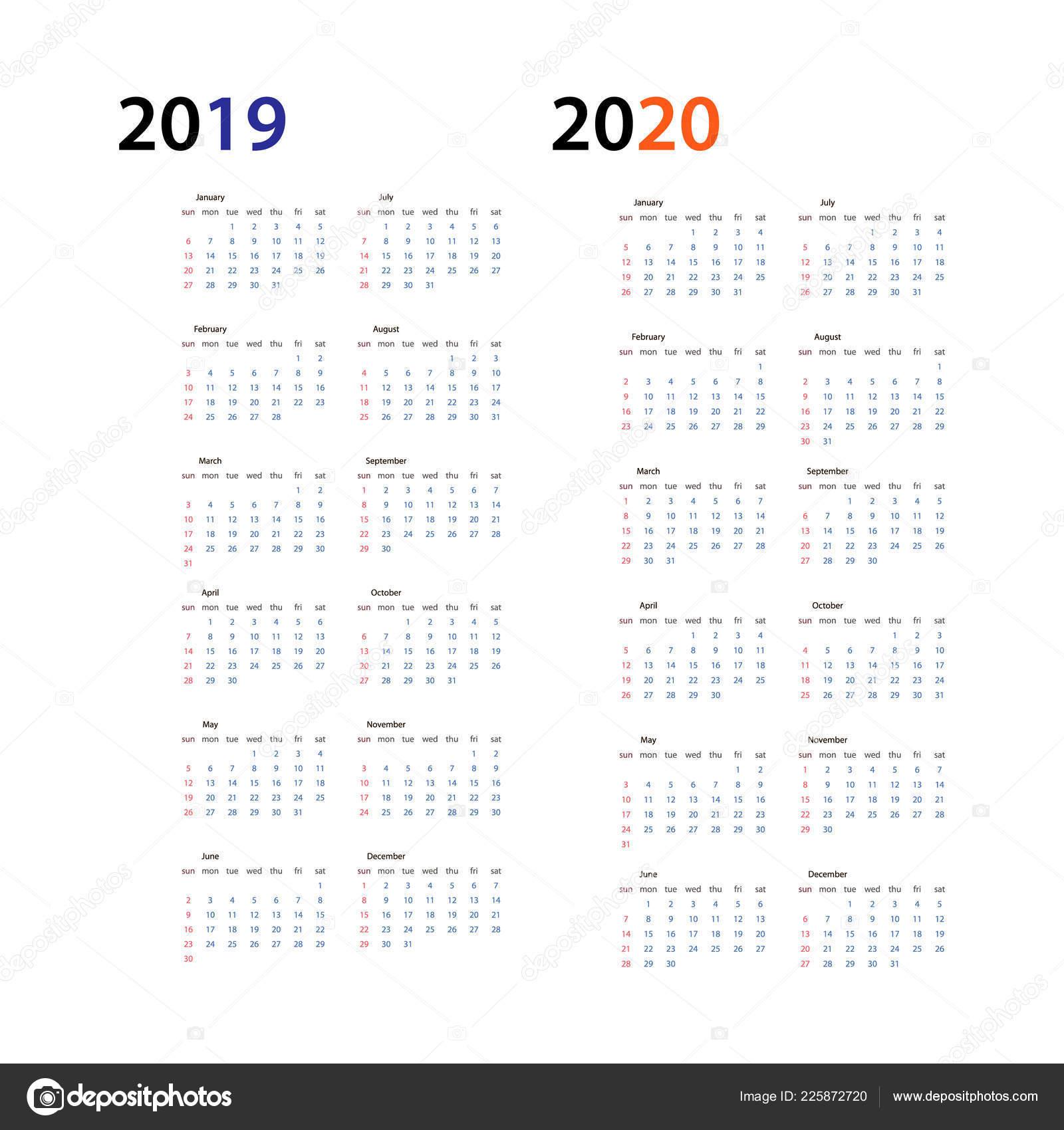 Calendario 2020 Orizzontale.Anno 2019 E 2020 Anno Calendario Orizzontale Vettore Modello