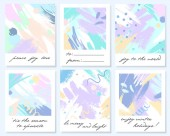 Unique artistic holidays cards with hand drawn shapes and textures in soft pastel colors.Trendy greetings design perfect for prints,flyers,banners,invitations,covers and more.Modern vector collages.