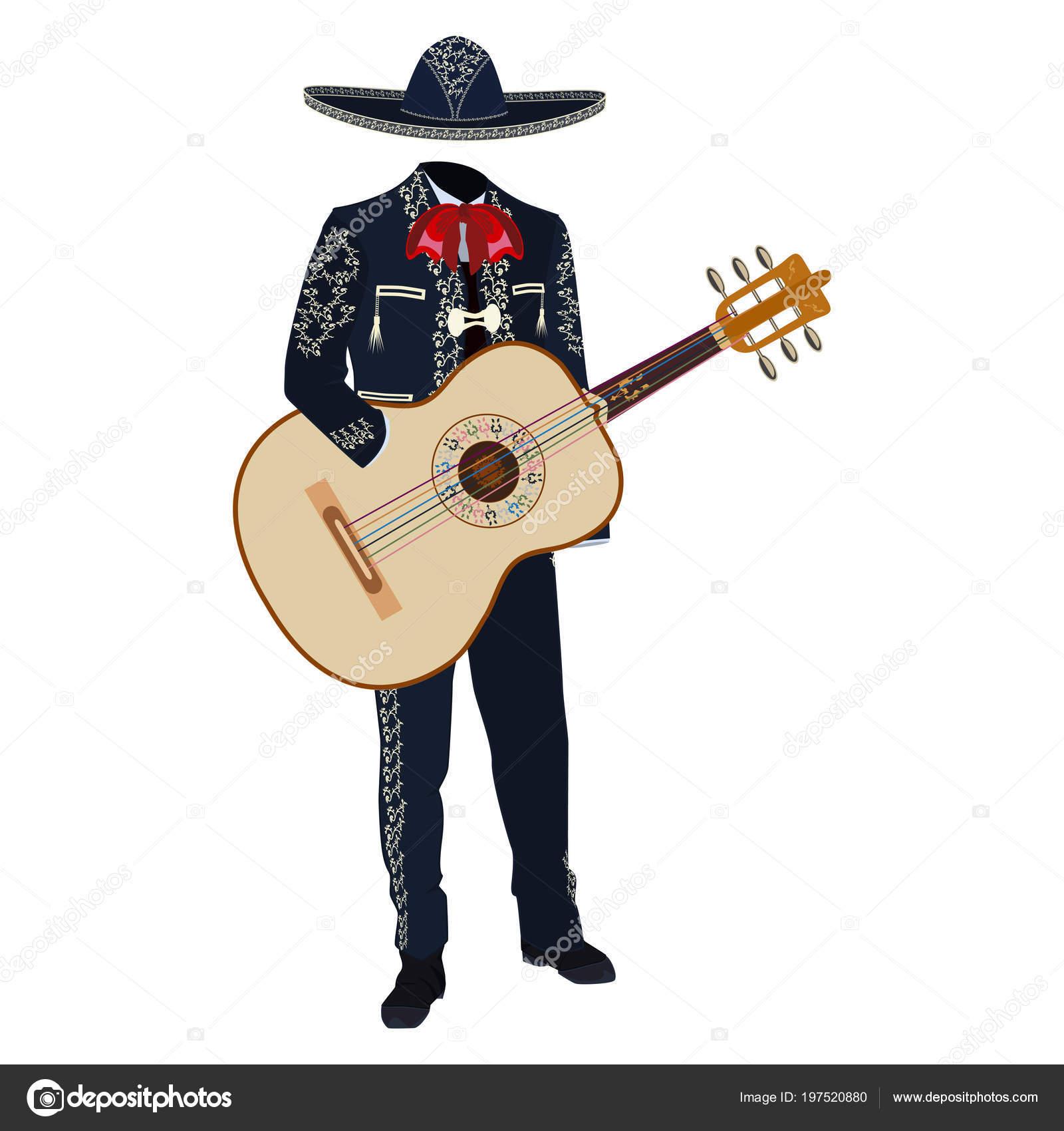 Músico Mariachi Con Guitarra Traje Tradicional Mariachi Sombrero  Ilustración Vectores — Vector de stock 96135edcb4a