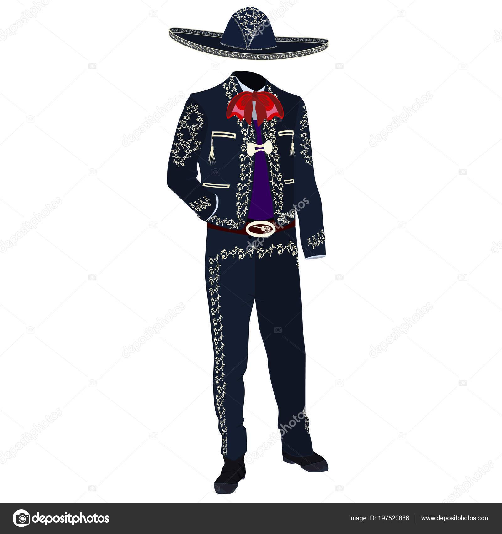 Traje Músico Mariachi Sombrero Mariachi Traje Charro Tradicional Mexicano  América — Vector de stock 58252b07bde