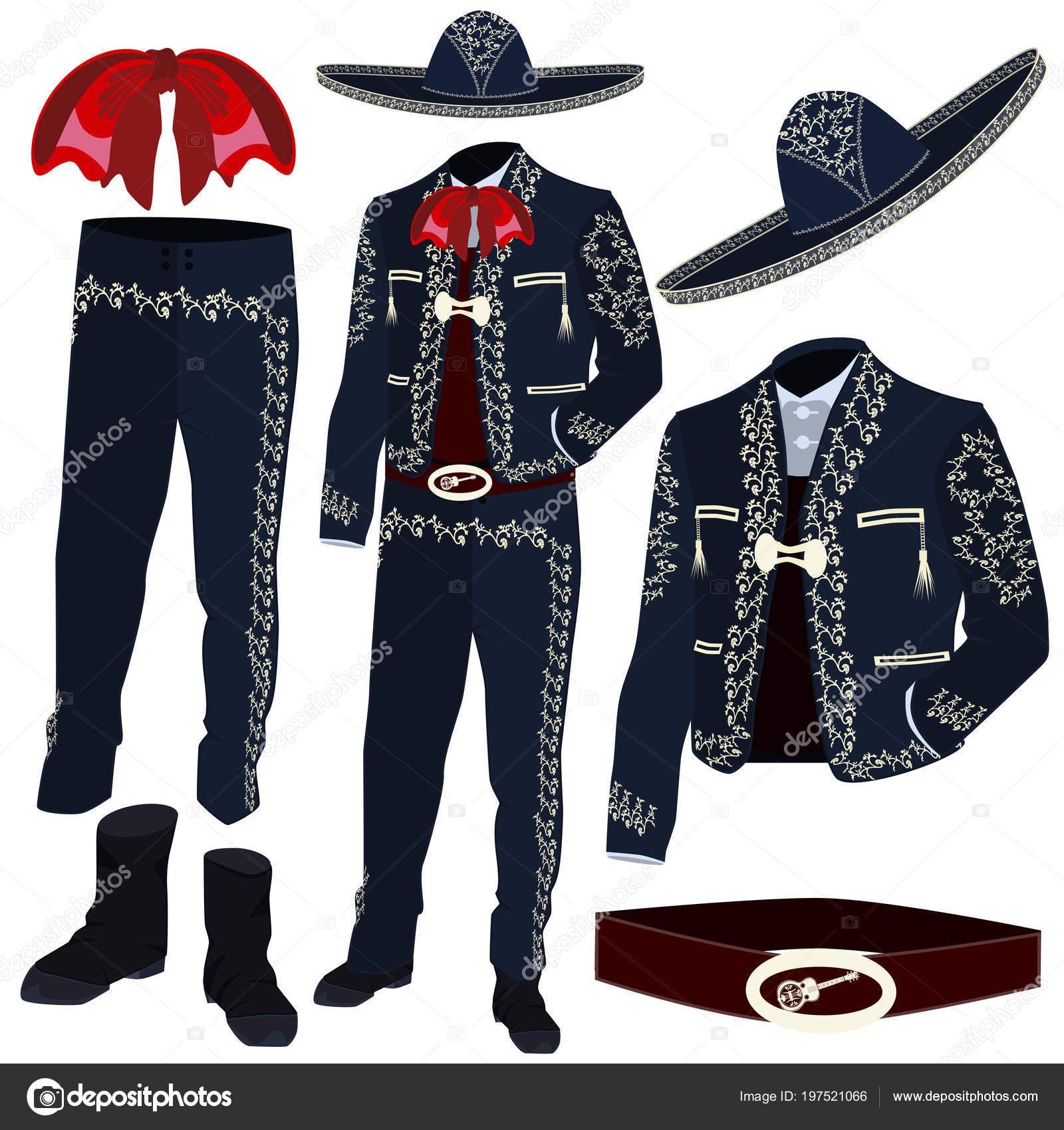 18b086e8f0dd6 Piezas de traje de músico de mariachi y sombrero de mariachi. Traje de  charro tradicional mexicano y América central utilizado en celebraciones y  eventos ...