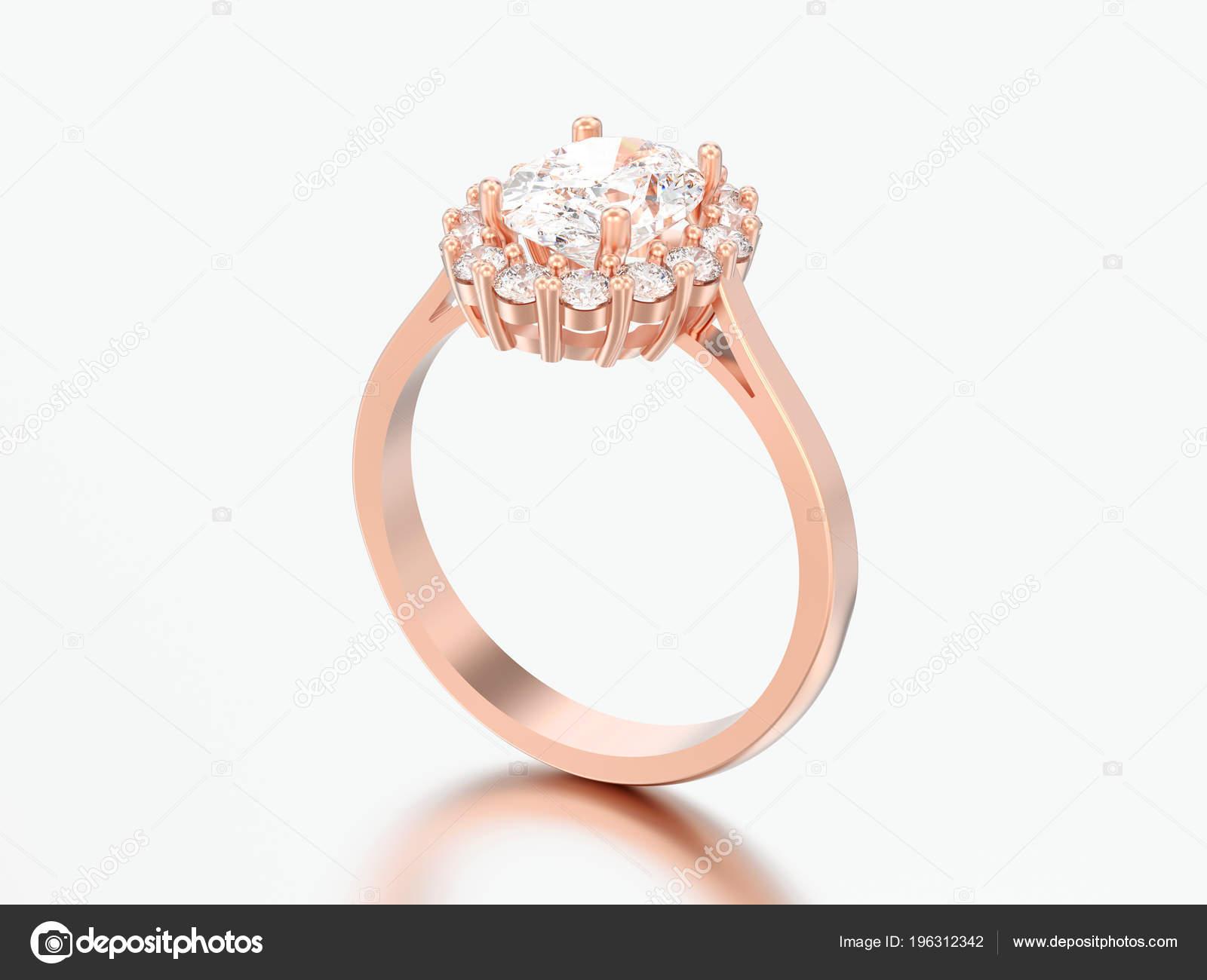 Abbildung Stieg Gold Oval Halo Diamant Verlobungsring Der Hochzeit