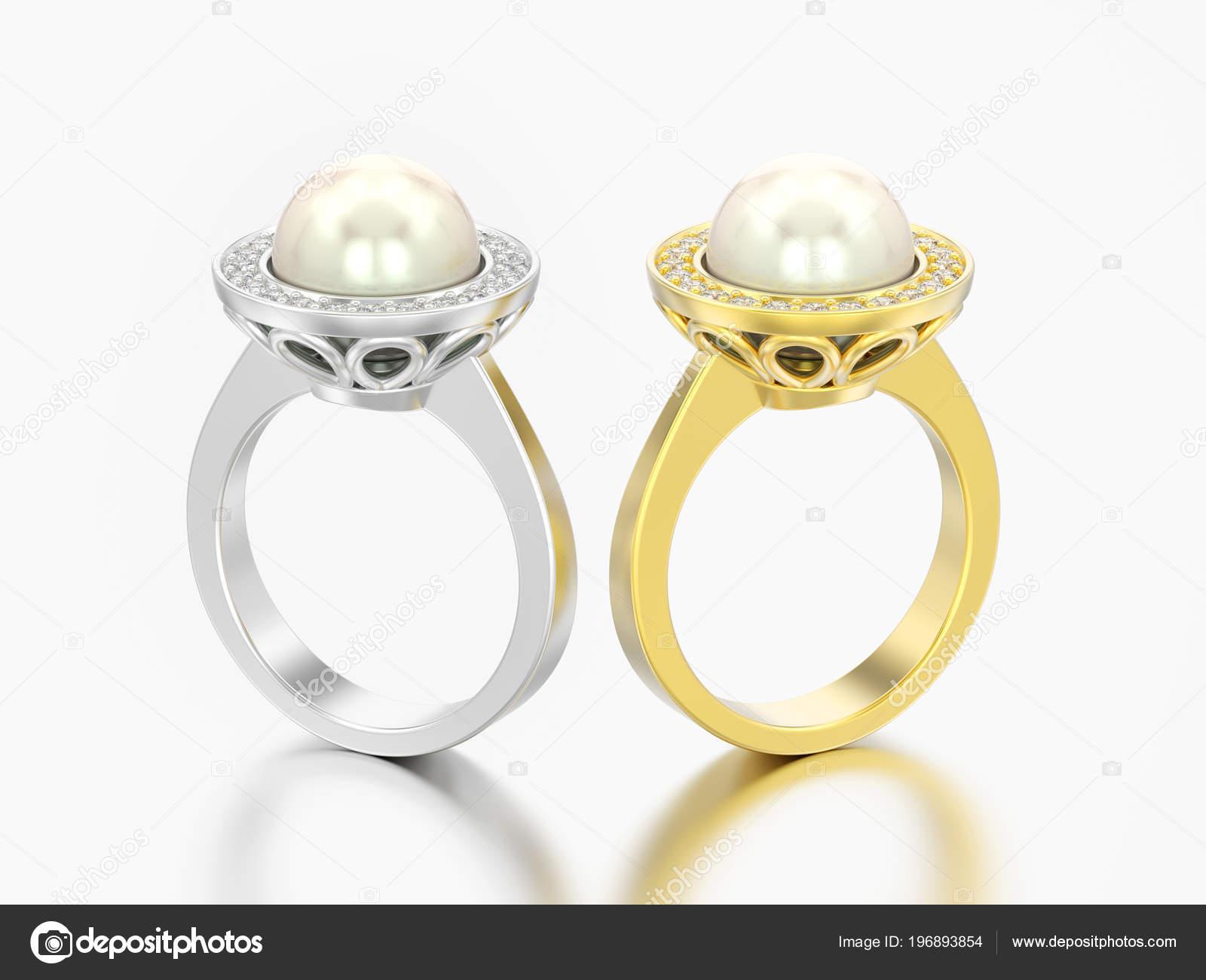 Abbildung Zwei Gold Und Silber Diamant Hochzeit