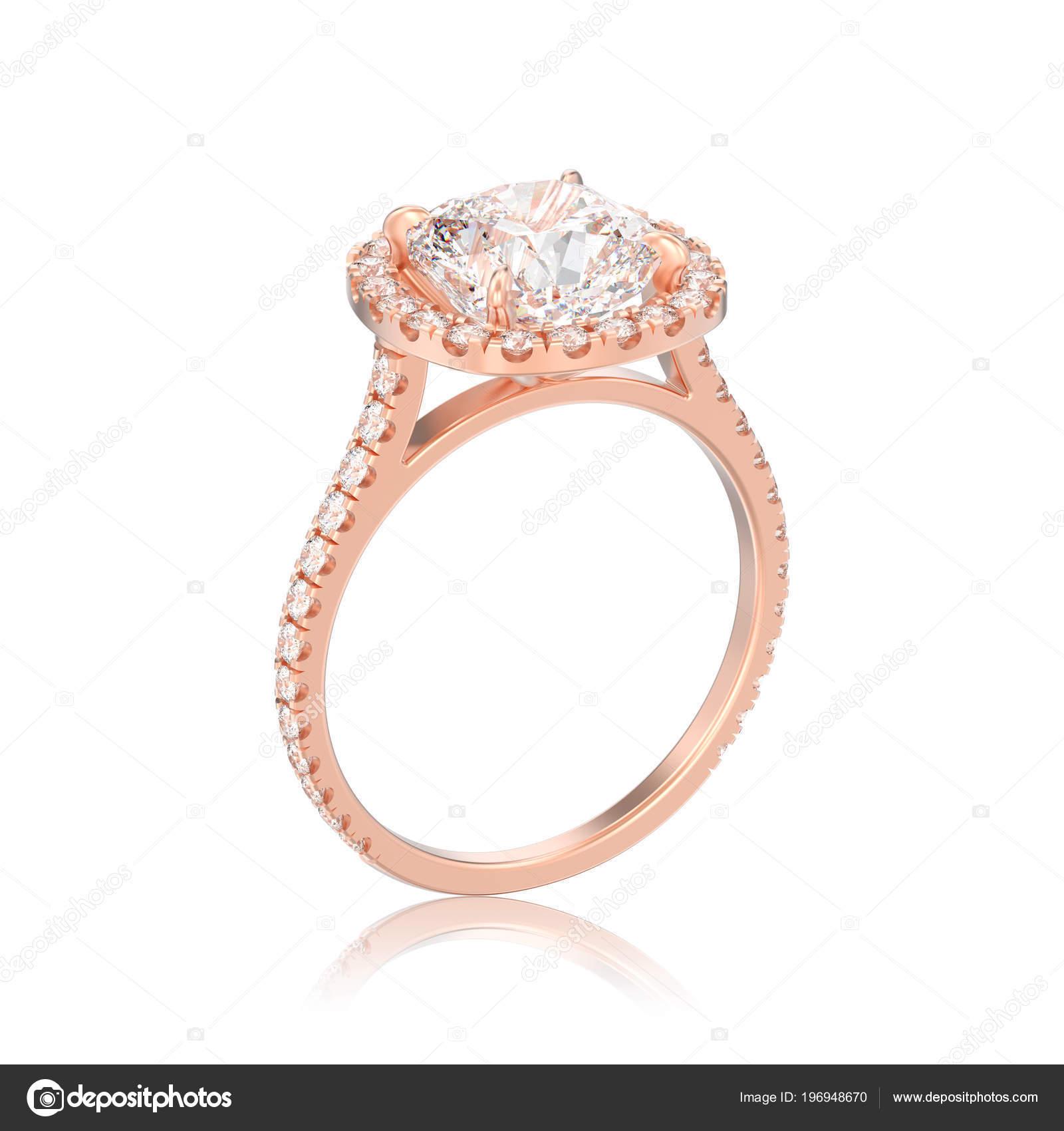 Abbildung Isoliert Rose Gold Hochzeit Kissen Diamant