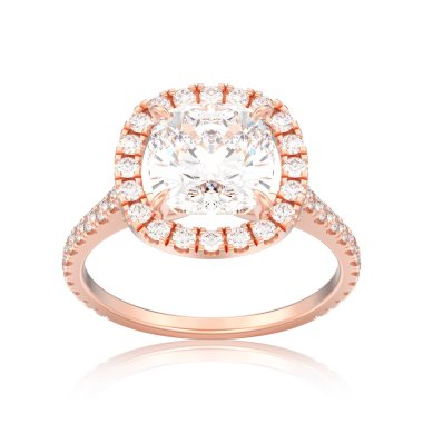 3D illustration isolated rose gold engagement wedding cushion diamond ring with reflection on a white backgroun