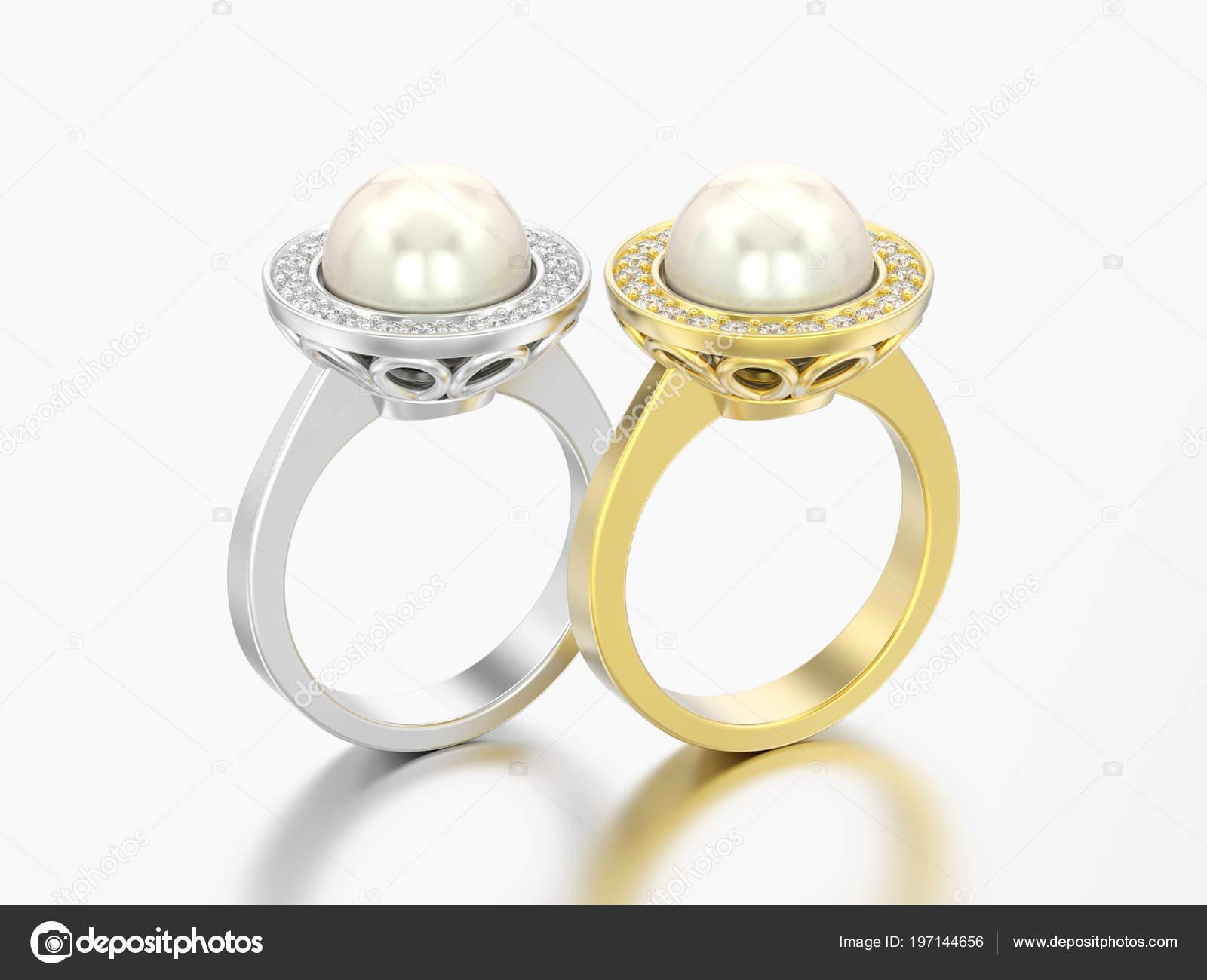 Obrazek Dve Zlate Stribrne Diamantove Zasnubni Snubni Prsteny Perlou