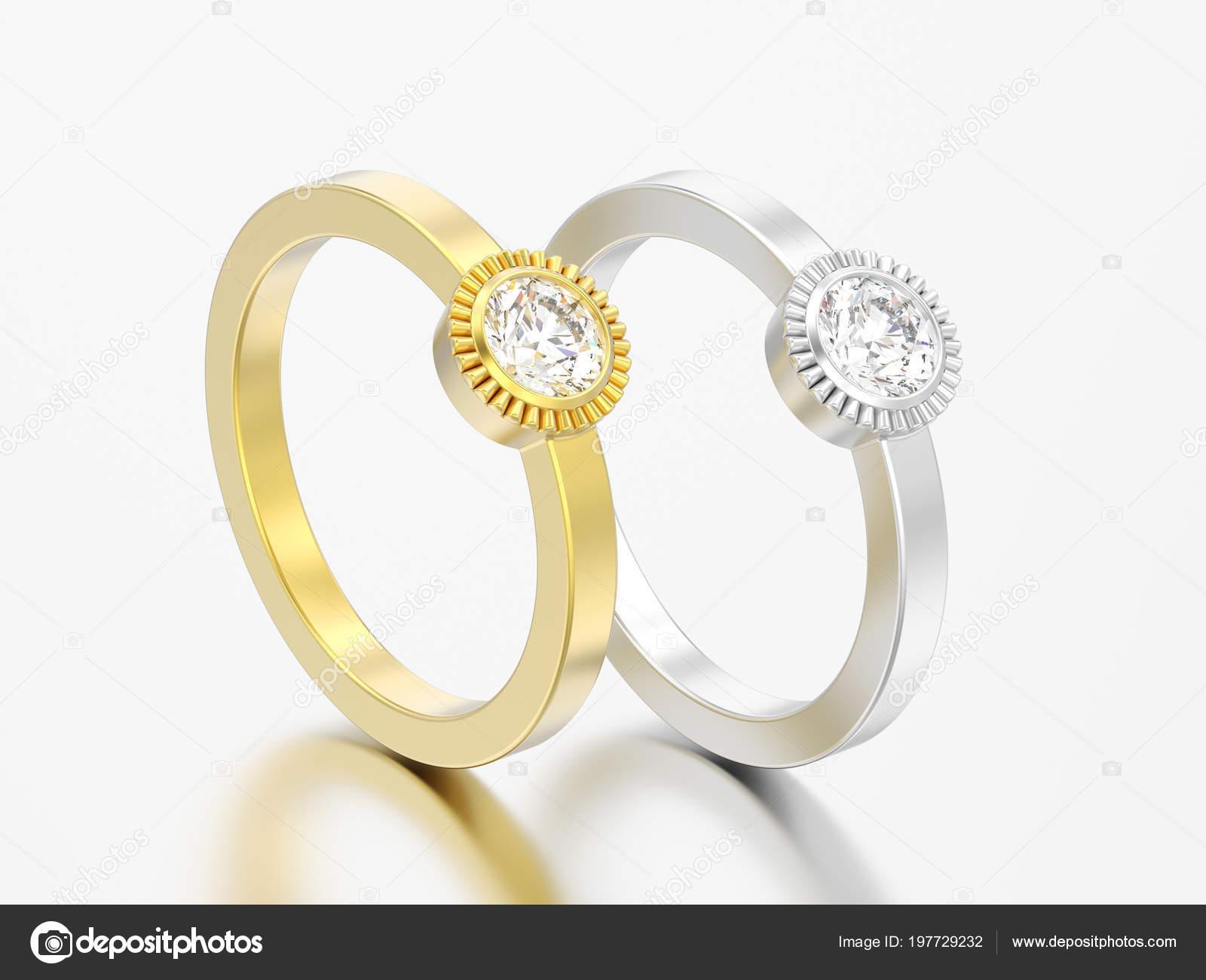 Abbildung Zwei Gold Und Silber Hochzeit Solitär Runder
