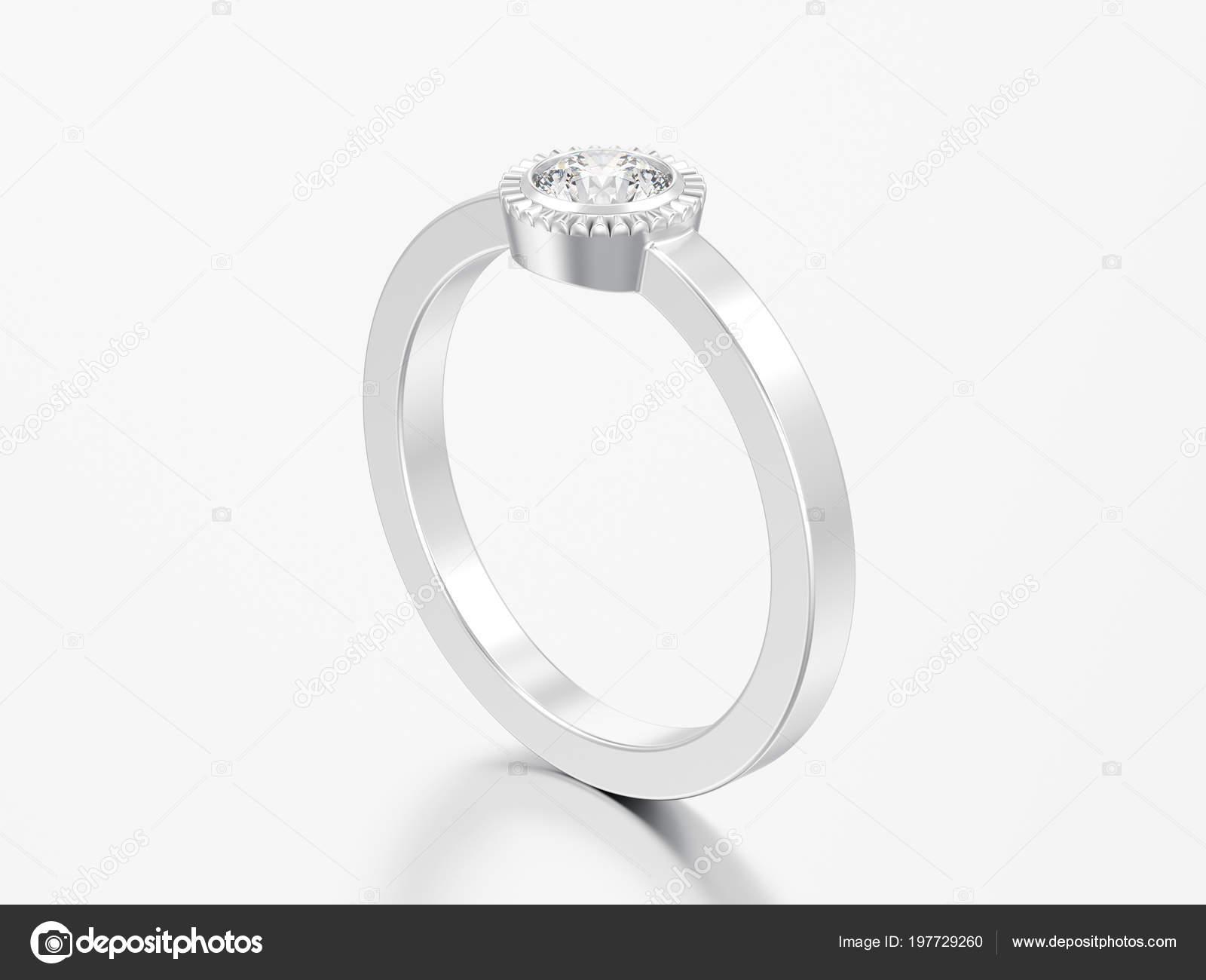 Abbildung Silberhochzeit Solitar Runder Diamant Lunette Ring Auf