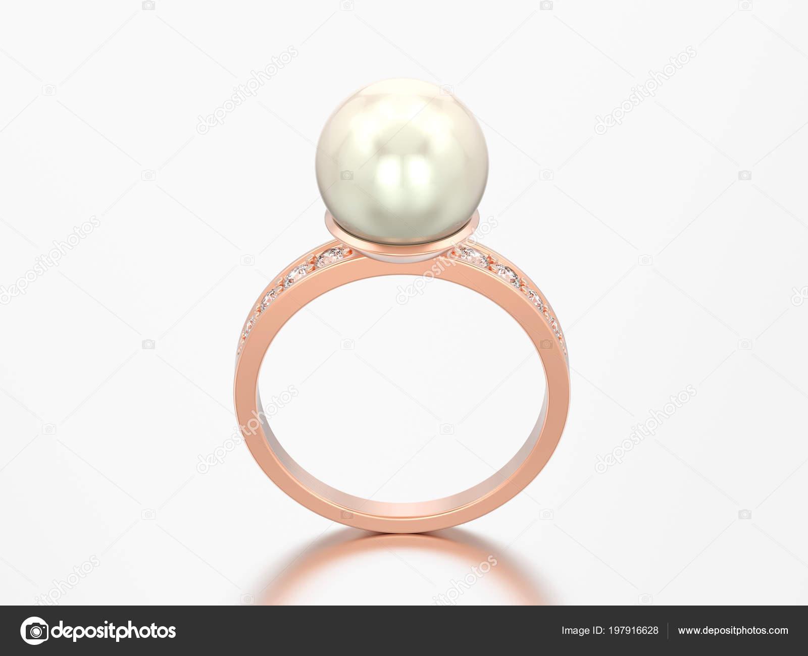 Obrazek Rose Gold Diamond Zasnubni Snubni Prsten Perlou Sedem Pozadi